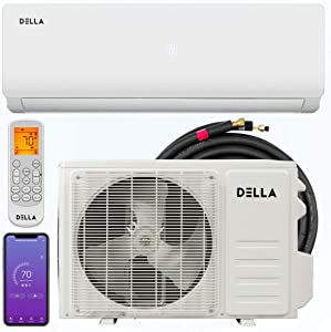 Della 9000 BTU 20 SEER Mini Split Air Conditioner Ductless Inverter System 110V with Heat Pump, WIFI Smart Control, Pre-Charged Condenser and 16.4-FT Installation Kit AHRI