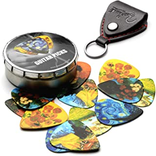 Van Gogh 12 Pack Guitar Picks with 100% Real Leather Picks Holder - Celluloid Medium Plectrums Unique Gifts For Guitarist