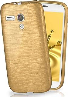 MoEx® Funda de Silicona con Aspecto Aluminio Cepillado Compatible con Motorola Moto G en doré