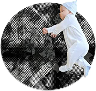 Svart grå abstrakt, barn rund matta polyester överkast matta mjuk pedagogisk tvättbar matta barnkammare tipi tält lekmatta