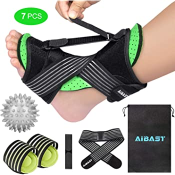 2020 New Upgraded Green Night Splint for Plantar Fascitis, AiBast Adjustable Ankle Brace Foot Drop Orthotic Brace for Plantar Fasciitis, Arch Foot Pain, Achilles Tendonitis Support for Women, Men