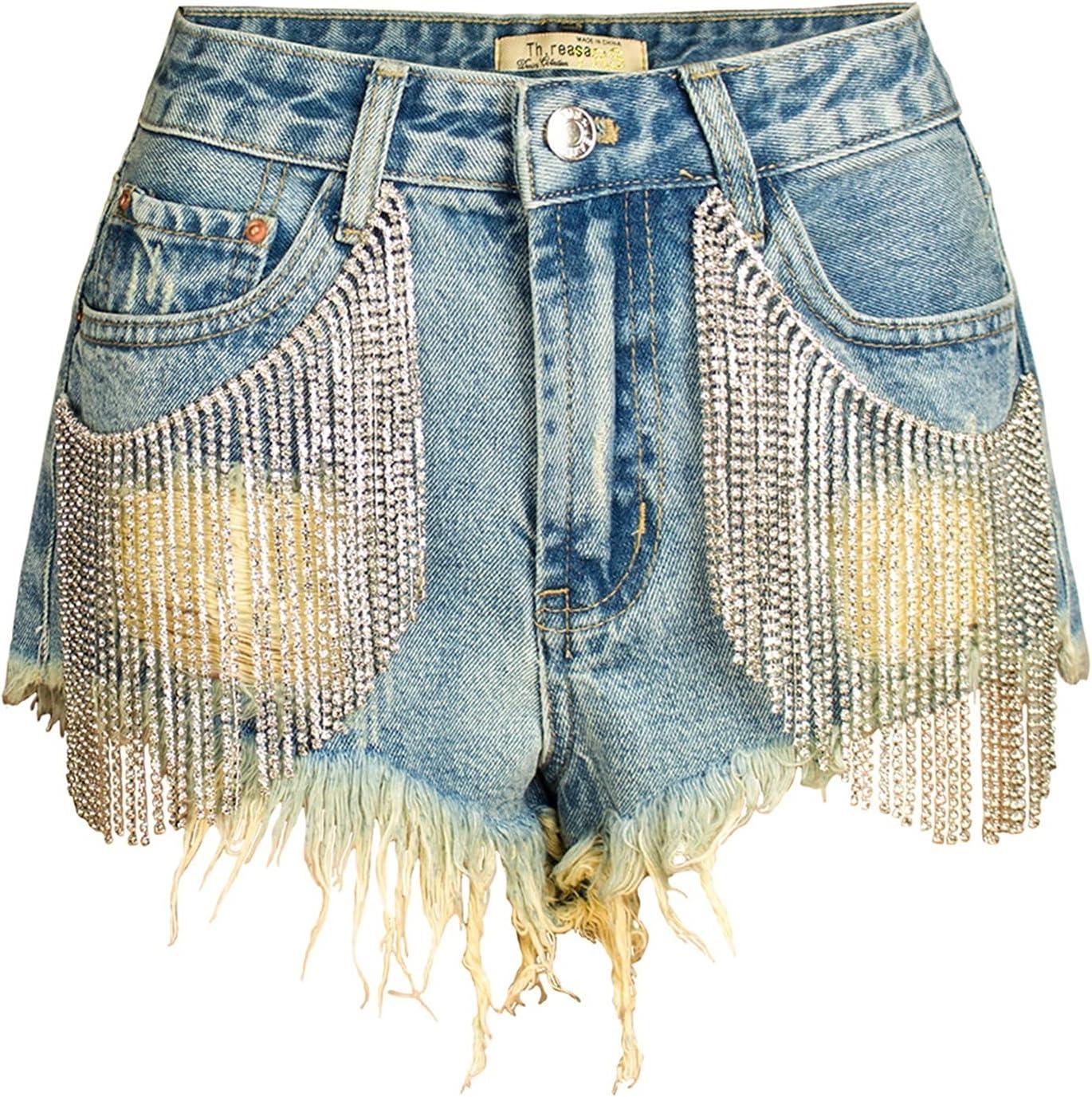 SBCDY Women's Destroyed Ripped Hole Denim Shorts Sexy Short Jeans Summer High Waist Denim Shorts Long Tassel Drill Chain Denim Shorts (Color : Blue, Size : 34)
