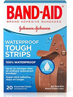 Band-Aid Brand Tough-Strips Waterproof Adhesive Bandages, Durable Protection for Minor Cuts and Scrapes, Assorted Sizes, 20 Count ( Pack Of 6 )