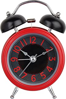 EFINITO Stainless Steel Twin Bell Alarm Clock (Red_12.7 X 5.08 X 7.62 cm)