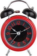 Efinito Twin Bell Alarm Clock with Night Display - 5 Inch (Red)