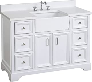 Zelda 48-inch Bathroom Vanity (Quartz/White): Includes a Quartz Countertop, White Cabinet with Soft Close Doors & Drawers, and White Ceramic Farmhouse Apron Sink