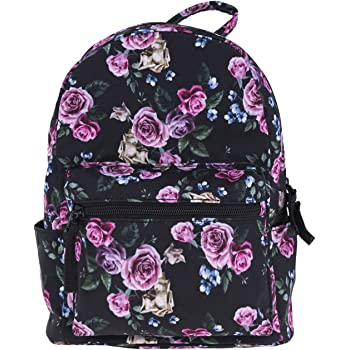 Women Girls Mini Backpack Fashion Causal Floral Printing Size Free Size Black