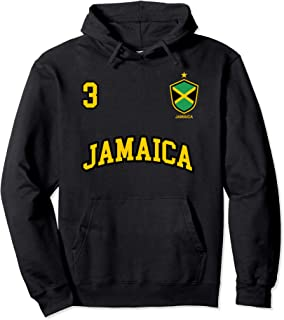 Jamaica Hoodie Number 3 Soccer Team Sports Jamaican Flag