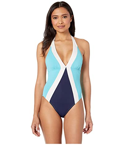 Vince Camuto Color Block Halter One-Piece with Removable Soft Cups (Deep Sea) Women