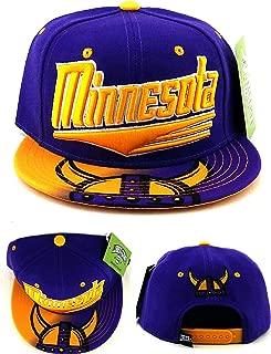 Minnesota New Leader Horned Helmet Flash Bill Purple Era Snapback Hat Cap