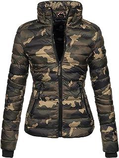 961bb075 Marikoo Damen Jacke Steppjacke Übergangsjacke gesteppt mit Kordeln Frühjahr  Camouflage B405