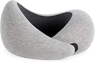 OSTRICHPILLOW GO Travel Pillow for Airplane Neck Support - Memory Foam Travel Accessories for Power Nap on Flight (Midnight Gray)