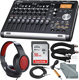 Tascam DP-03SD Digital Portastudio 8-Track Recorder with Samson Studio Headphones and Accessory Bundle