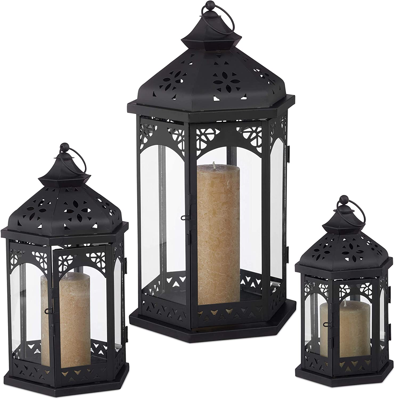Relaxdays Set de 3 Farolillos Decorativos para Exterior e Interior, Hierro-Cristal, Negro, 3 Tamaños
