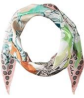 Seaside Floral Silk Diamond Shape Scarf