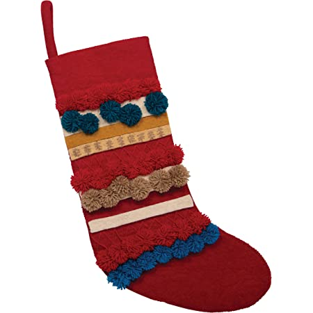 Creative Co Op Appliqued Wool Felt Poms Stocking Multicolor Home Kitchen