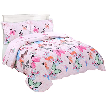 2 Pcs Kids Bedspread Quilts Set for Boys Girls Bed Printed Bedding Set Twin Size