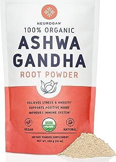Neurogan Organic Ashwagandha Powder (1 lb) - 100% Raw From India & USDA Organic Ashwagndha Root Powder for Improved Mood, Sleep, Vitality, Adrenal Health & Anxiety Relief - Vegan, Non-GMO, Gluten-Free