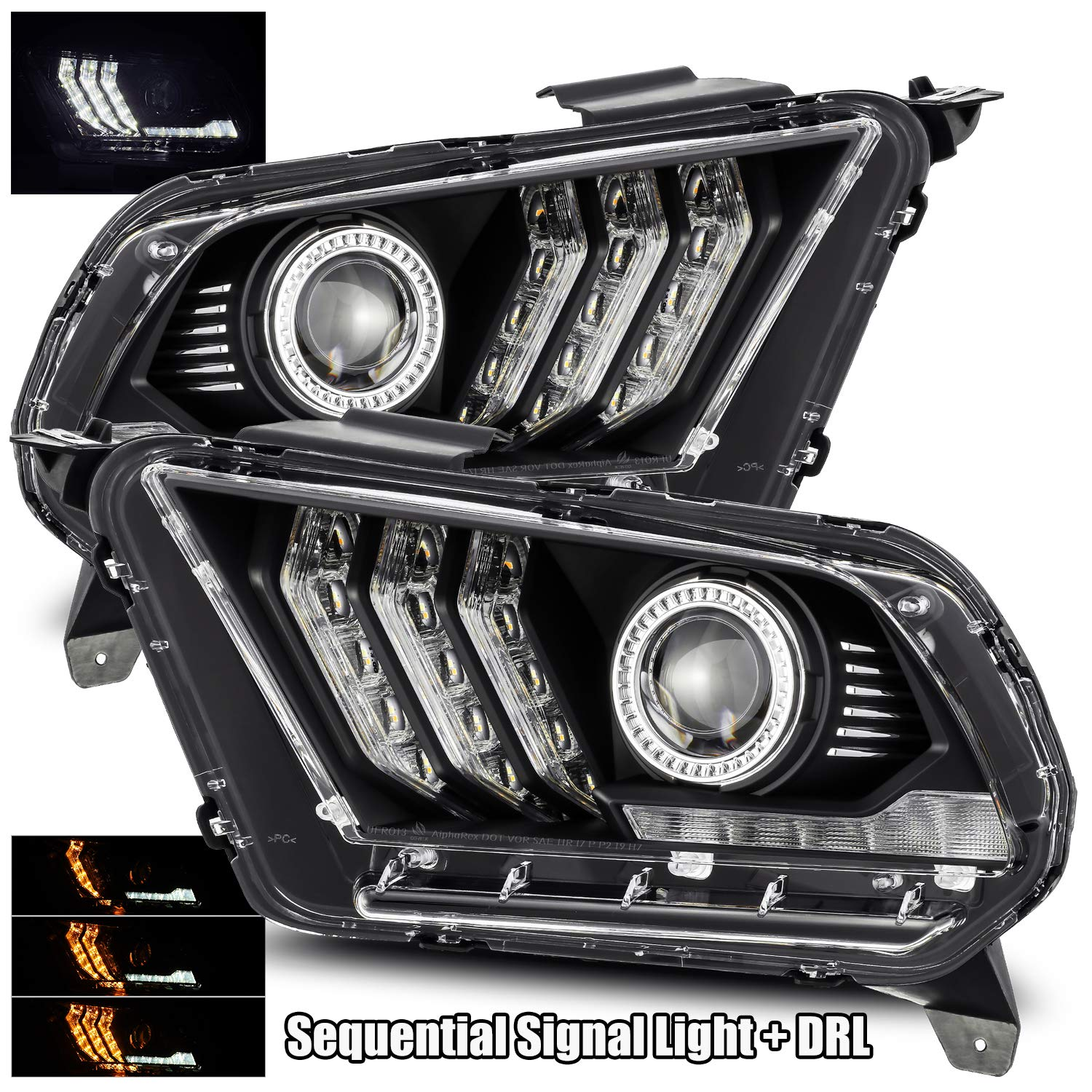 AlphaRex PRO-Series Chrome Fit 10-12 Ford Mustang Halogen Type 6th Gen Look Switchback DRL//Sequential Signal LED Tube Projector Headlights Black