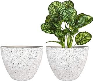 Flower Pots Outdoor,Indoor Pots for Plants Resin Planter, Indoor, Patio, Deck, Speckled White, 11.3 inches Set of 2 …