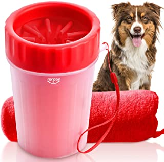 Dog Paw Cleaner (Red) - Dog Paw Washer w/Handle Strap   Muddy Paws Cleaner, Pet Cleaner Cup   Durable & Gentle Bristles   Easy to Use & Clean   Perfect for Medium & Large Dogs   Free Towel