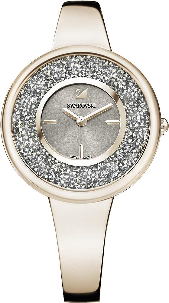 Swarovski crystalline pure orologio da donna in acciaio pvd tonalità oro champagne 5376077