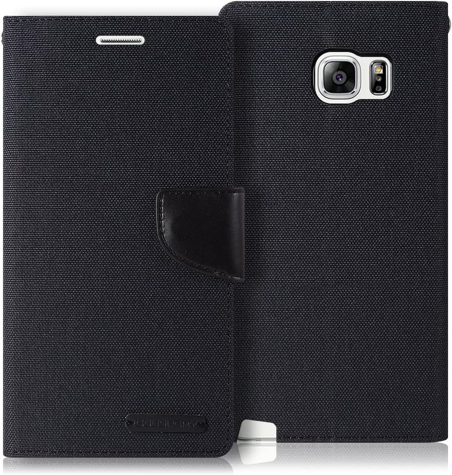 Goospery Canvas Wallet for Samsung Galaxy Note 5 Case (2015) Denim Stand Flip Cover (Black) NT5-CAN-BLK