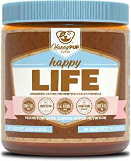 Happy Pup Supps Happy Life | Advanced Canine Preventive Health Formula | Peanut-Infused Super Nutrition | All-Natural Grai...
