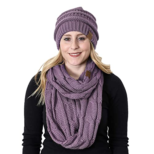 0489649ed3d Funky Junque Womens Infinity Scarf and Slouchy Knit Beanie Matching Winter  Set