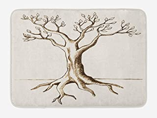 cokefy Tree of Life Bath Mat, Hand Sketch of Tree with Few Leaves Branches Ready for Growth Fertile Print, Plush Bathroom Decor Mat with Non Slip Backing, 29.5 W X 17.5 W Inches, Cream Brown