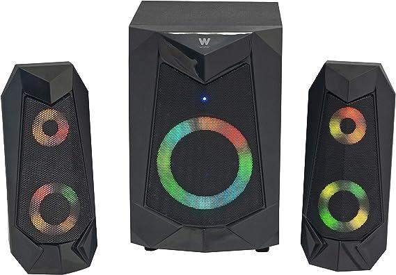 Woxter Big Bass 180 FX - Altavoces 2.1 (20W, Subwoofer, Rejilla metálica, Leds RGB, Ideal para TV, PC y videoconsolas), Bluetooth