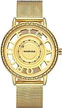 Taylor Cole Ladies' Luxury Unique Design Crystal Bezel Quartz Stainless Steel Band Wrist Watch