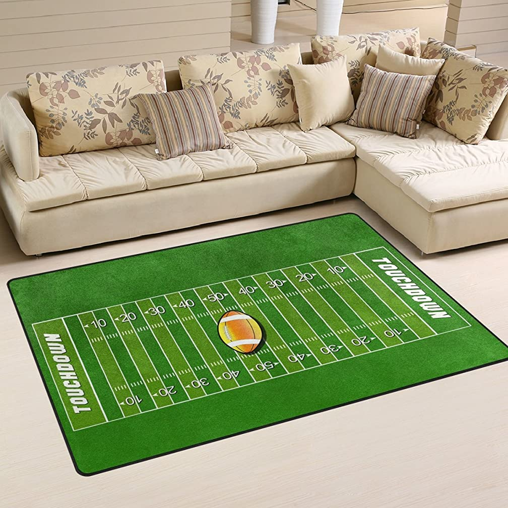 WOZO American Football Field Sport Green Grass Area Rug Rugs Non-Slip Floor Mat Doormats Living Room Bedroom 60 x 39 inches