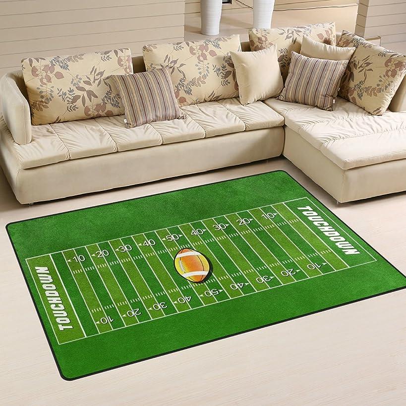 WOZO American Football Field Sport Green Grass Area Rug Rugs Non-Slip Floor Mat Doormats Living Room Bedroom 60 x 39 inches