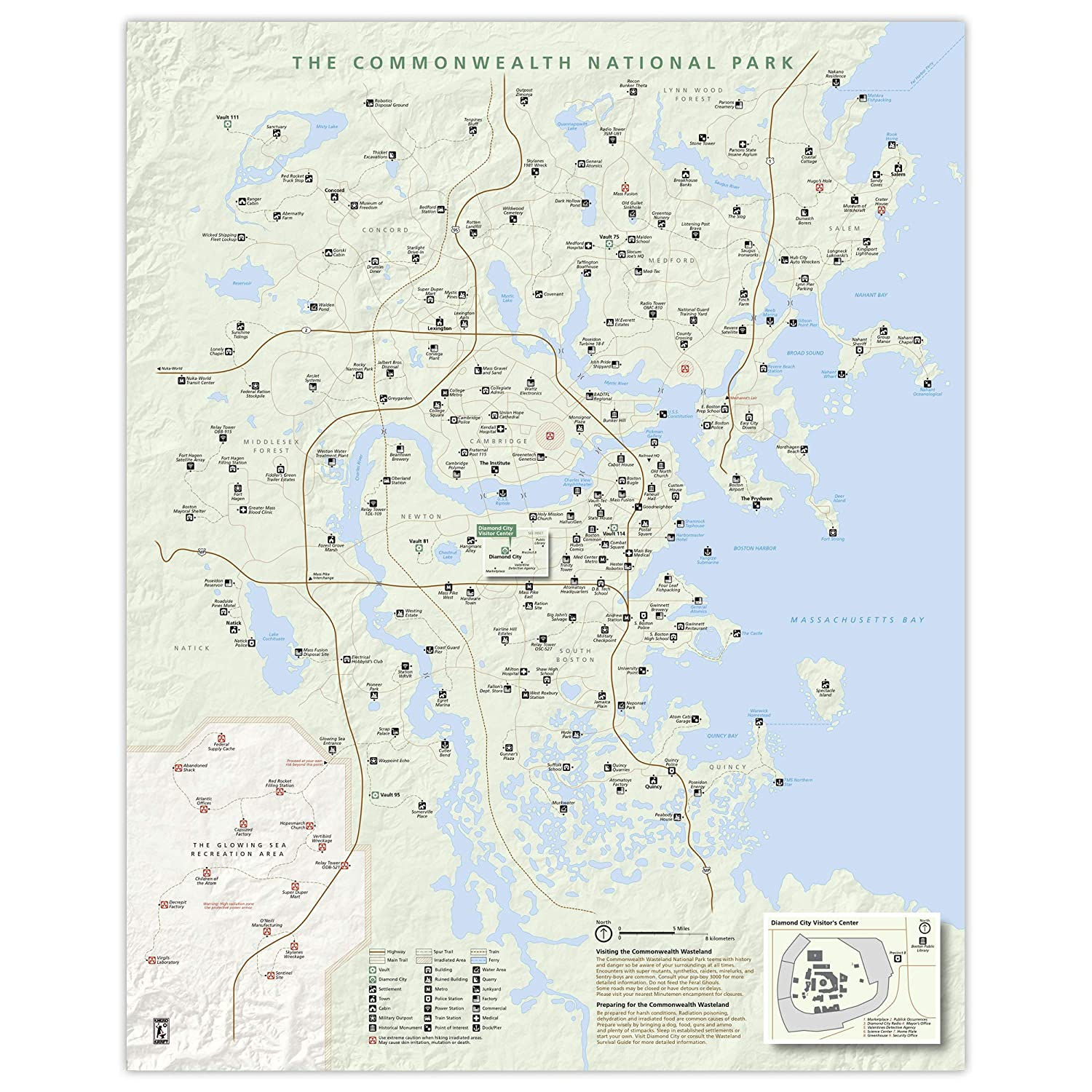 Commonwealth Wasteland National Park 16x20 OFFicial store Selling Map Style Poster