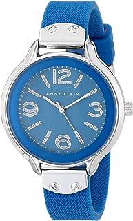 Anne Klein Women's AK/1615BLBL Silver-Tone Blue Chevron Pattern Silicone Strap Watch