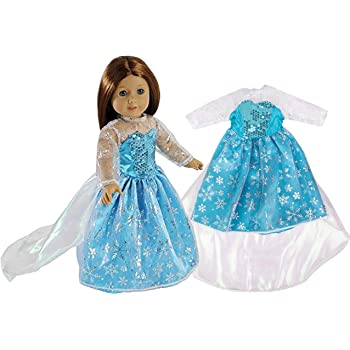 "Elsa Frozen Inspired Doll Outfit - Snowflake Queen Dress Clothes for American Girl & 18"" Dolls - Premium Costume Apparel"