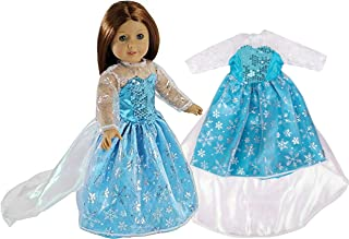 Elsa Frozen Inspired Doll Outfit - Snowflake Queen Dress Clothes for American Girl & 18