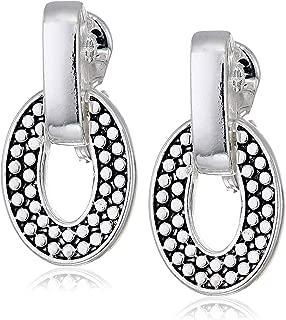 Women's Casual Silver Ez Comfort Clip Doorknocker Earrings