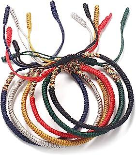 اساور حبل يدوية الصنع للرجال والنساء سلسلة حمراء أساور البوذية التبت المنسوجة سوار لاكي للصداقة 6 حزمة