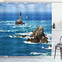 Ambesonne Lighthouse Shower Curtain, Daytime Lighthouse Wavy Ocean View and Clear Sky Rocky Islands Sailboat, Cloth Fabric Bathroom Decor Set with Hooks, 84