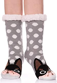 HERHILLY Womens Girls Winter Super Soft Cartoon Animal fuzzy Fleece Lining Knit Home Slipper Socks
