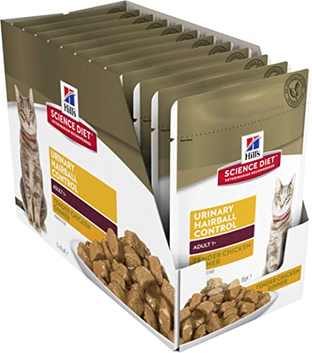 Hill's Science Diet Adult Wet Cat Food, Urinary Hairball Control Chicken Cat Food pouches, 85g, 12 Pack product image