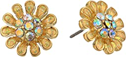 Blue by Betsey Johnson Yellow and Gold Tone Flower Stud Earrings