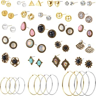 30 Pairs Stainless Steel Stud Earrings for Women Vintage Geometric Fake Pearl Round Ball CZ Stud Earrings Big Hoop Earrings Set