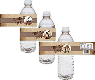 Alice In Wonderland Party Water Bottle Labels - Wedding Bridal Baby Shower Drink Sticker - Set of 12