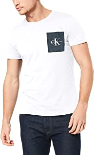 Calvin Klein Jeans Men's Monogram Pocket Slim Tee, Bright White/Chambray, M