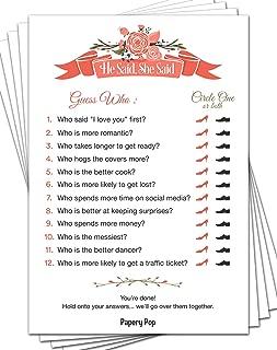 Papery Pop He Said She Said (50 Sheets) - Bridal Shower Games - Wedding Shower Games - Wedding Games