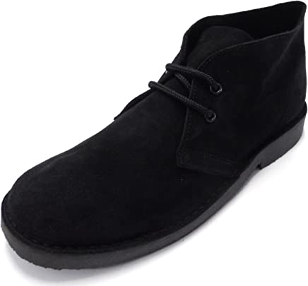 70s retro real suede desert boots in 5 colours (7, black) : boots