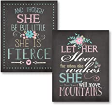 Gango Home Décor Let Her Sleep for When She Wakes She Will Move Mountains and Though She Be But Little She is Fierce; Nursery Decor; Two 11x14in Unframed Paper Posters